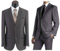 shiny 100% Wool Mens Double Breasted Gray Dress Suit 48L  waist pants FREE GRAY 50L 50 L FREE FAST SHIP HEM-UP & TIE