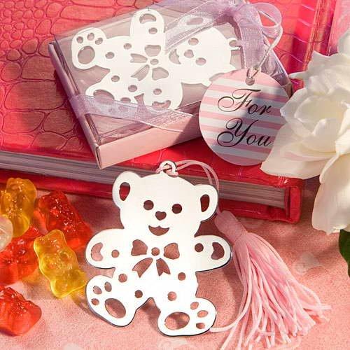 Wholesale Wedding Favors Gifts/ Bear Metal Bookmark with Pink Box/ Promotion Metal Bookmark/ Free Shipment 100pcs/lot(China (Mainland))