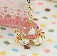Free Shipping Miss Girl pumpkin carriage mobile phone chain, Mobile phone pendant, phone chain, Pink-gold 80g