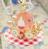 Free Shipping Miss Girl pumpkin carriage mobile phone chain, Mobile phone pendant, phone chain, Pink-gold 80g 20pcs/lot