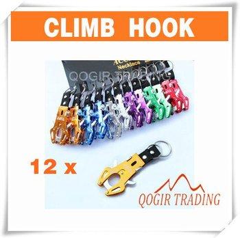 12 pcs Durable Carabiner Clip Climb Hook Lock Keyring Keychain 6162