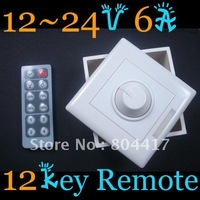 Free Shipping Brand New 1Pcs 12 key IR remote LED Light Dimmer 12-24V 6A  A1602 RGB LED Controller +Wholesale and Retail