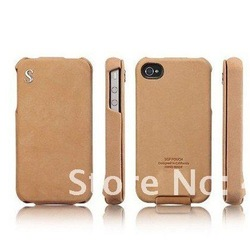 Leather Fashion SGP Vintage Genuine Leather Flip Case for iphone 4S(China (Mainland))
