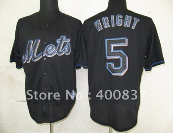 New York Mets #5 Wright Authentic 2012 Black Fashion Jersey Size 48-56 Mix Order All Team Baseball Jerseys