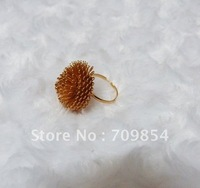 free shipping!!! 100pcs/lot fashion 25mm gold tone chrysanthemum adjustable ring jewelry