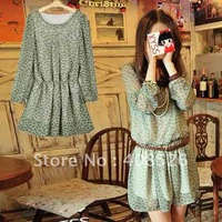 summer New Women's Chic Crew Neck Chiffon Dress Tunic Green without belt free shipping 2834