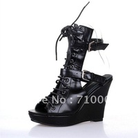 2012 Rome style wedges sandals LA05#ANN women Leather Sandals Strappy sandals Free shipping