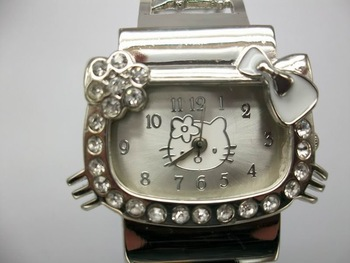 Free Shipping Stainless Steel Hello Kitty Watch,Cuff Watch Crystal Watch #KITTY007-W