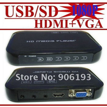 Full HD 1080P USB External HDD Media Player with HDMI VGA SD support MKV H.264 RMVB WMV Brand New- FREE SHIPPING 3pcs/lot