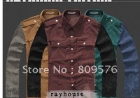 Men fashion Two-tone split joint casual shirt,long sleeve shirt .