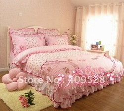 New rural style princess bed is tasted all cotton bedding bedspread four pieces 4 kinds of color(China (Mainland))