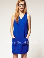 New summer  British wind  Contracted double pockets  V-neck dress