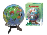 3D jigsaw puzzles sphere globe 60 pieces with inner 12 pieces of plastic sets DIY home activity educational toy