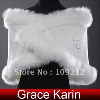 Free Shipping 1pcs/lot GK Faux Fur Shrugs Wedding Bridal Wrap Shawl Stole Tippet Jacket CL2618