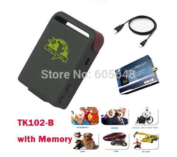 4pcs / Lot Mini RealTime Car Vehicle Auto Tracker Tracking Device Personal /Pet / Kid GPS Tracker TK102B+ USB Memory Storage(China (Mainland))