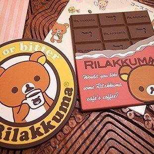 Free Shipping 2pcs/lot New Quality Silicone Cute Rilakkuma/SAN-X/Relax Bear Coffee Coaster/Cup Mat Wholesale