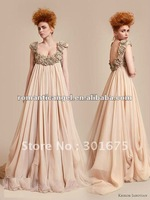 2012 hot sale A line beaded crystal champagne color party dresses prom dress fashion 2012