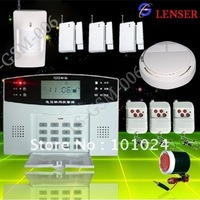 APP Control Android LCD GSM Alarm Security System for Home +1wireless smoke detector +1 Infrared sensor + 3 Door sensor