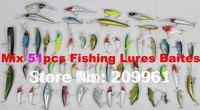 high quality mix 51pcs/set hard lures Bait fishing lure wholesale free shipping