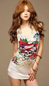 Free Shipping Women's Pattern Halter Evening Dress V-Neck Sexy Party Mini Dress Shirt Tank Vest  E3487