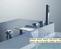 Luxury waterfall faucet,chrome finish bathroom tub and shower faucet mixer tap with hand held shower