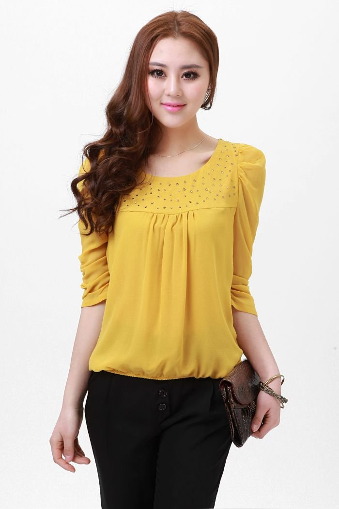 Yellow Fashion Blouse 105