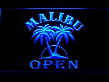 067-b Malibu Beer OPEN Bar Neon Light Sign