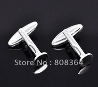 Free Shipping 10 Silver Plated Flat Oval Cuff links 27x8mm Father&amp;#39;s Day Valentines Day Gift(W01529 X 1)