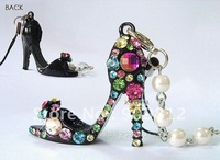 Free Shipping Diamond pearl high heels Phone Chain, Mobile phone pendant, Phone chain, Black / white 18g 100pcs/lot