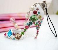 Free Shipping Diamond pearl high heels Phone Chain, Mobile phone pendant, Phone chain, Black / white 18g 200pcs/lot