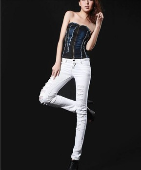 free shipping 2012 new fashion women sexy  Torn jeans. Wear out big yards show thin elastic feet , pencil pants. women jeans