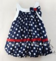 2012 summer girl dress suspender dress gown blue point design 100% cotton for 1~4Y free shipping wholesale drop shipping