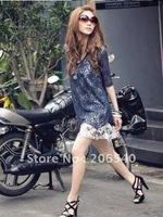 Free shipping brand new Korean Fashion Womens Two-Piece Chiffon Lace Two-piece Asymmetric Casual Dress