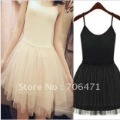 Free Shipping Fashion Lady's Black/White Spaghetti Strap net yarn dress Moq 1pc