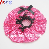 Hot sale double layer 100% waterproof Satin shower cap(dots printing)