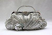 Free Shipping Silver Chinese Women's Sequin Beaded Handbag Clutch Purse Wedding Evening Bag Makeup Bag 1889