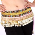 BELLY DANCE scarf double lines rhinestones/dance HIP SCARF 248coins,dance waist scarf,velour WRAP SKIRT DANCING HIPSCARF