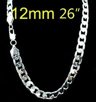 FREE SHIPPING! wholesale 925 Silver 12MM curb Chain NECKLACE FOR MEN 26 inch,925 Sterling silver necklace,925 fashion jewelry