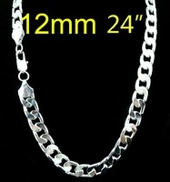 FREE SHIPPING! wholesale 925 Silver 12MM curb Chain NECKLACE FOR MEN 24 inch,925 Sterling silver necklace,925 fashion jewelry