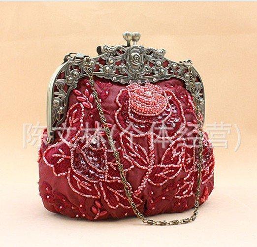 Free Shipping Wholesale Retail burgundy Women's Sequin Beaded Bag Clutch Handbag Wedding/Evening Bag Makeup Bag 2583(China (Mainland))