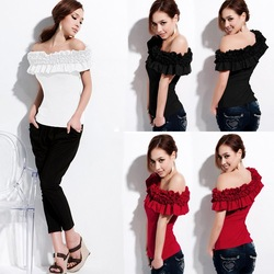 Free shipping/Wholesale promotion price/HOT!/New chic summer woman fashion frill off-shoulder cotton tops blouse T-shirt R023(China (Mainland))