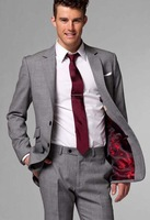 Wholesale Free shipping Wool Men Business suit Gray Two pieces suit (Jacket + pants )