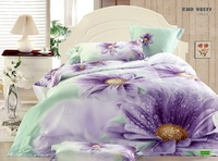 Hot Fashion New  Beautiful 100% Cotton 4pc Doona Duvet QUILT Cover Set bedding set Queen /  King size PURPLE FLOWER