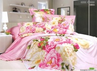 Hot Fashion New  Beautiful 100% Cotton 4pc Doona Duvet QUILT Cover Set bedding set Queen /  King size beautiful flower
