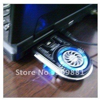 10pcs Mini Vacuum Case Cooler USB Cooling Fan for Laptop Notebook idea FYD-738 Blue LED light  free shipping