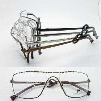 Wholesale VF6400 stainless steel big bending degree geometry full-rim prescription eyeglasses frame wholesaler free shipping