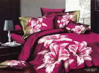 Hot Fashion New  Beautiful 100% Cotton 4pc Doona Duvet QUILT Cover Set bedding set Queen /  King size Rose-red Glamour lily