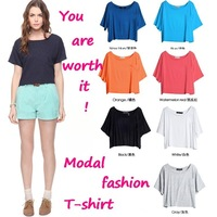 Free Shipping, / 2012 women fashon modal t-shirt / six color / bat-wing sleeve / wholesale