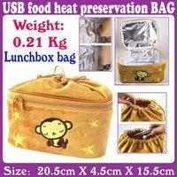 3pcs/Lot_USB food heat preservation BAG LUNCHBOX bag monkeys_Free Shipping