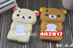 2012 Hot Selling Cute Soft Silicone Skin Case Cover 3D Rilak kuma Bear For iphone 3G 3GS,free shipping(China (Mainland))